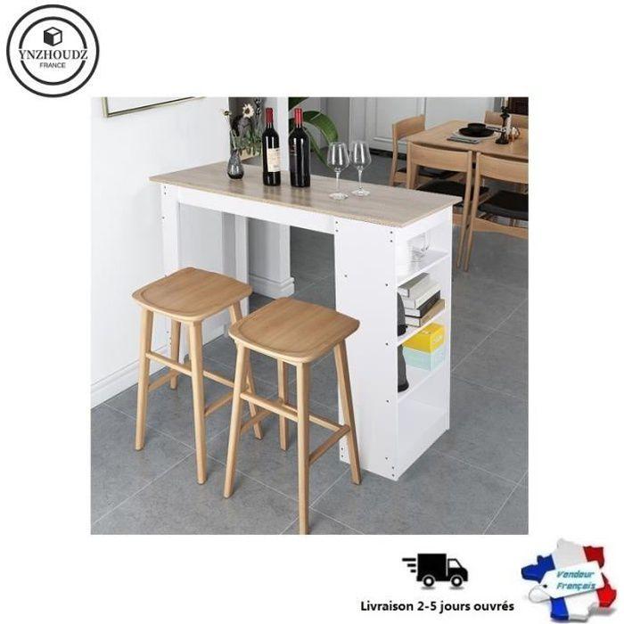 Mange-debout - Table de Bar A manger - Blanc + Chene avec 4 étagères de rangements - L 115 cm