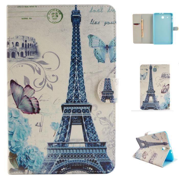 Étui à rabat Tablette Coque Pour Samsung Galaxy Tab E 9.6- T560 - T561 - de Protection Portefeuille Tour Eiffel