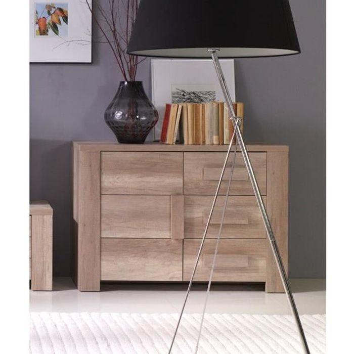 Buffet, bahut, enfilade petit modèle FERRARA 1 porte, 3 tiroirs. Meuble design et tendance pour votre salon ou salle à manger