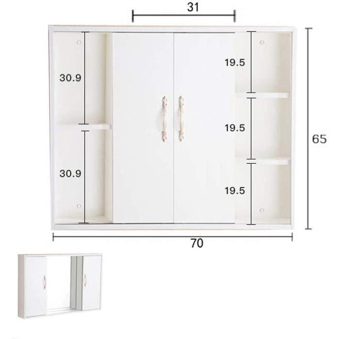haozai Armoire De Toilette Murale Armoire De Toilette LED avec Porte Armoire De Toilette en Bois Massif, Design Trois Portes Can937