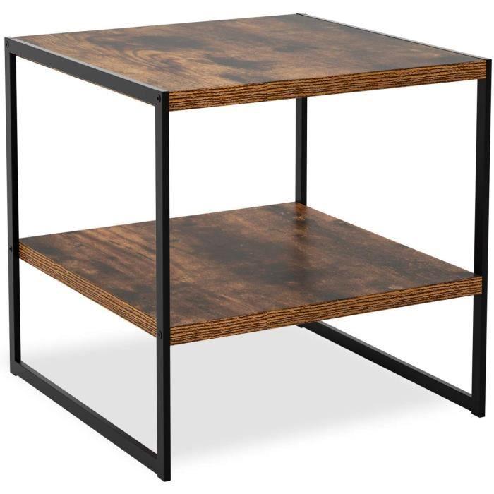 Table Basse Industrielle Table d'appoint Petite Table avec 2 Étagères en Métal et Bois Design Vintage 50x50x50cm118