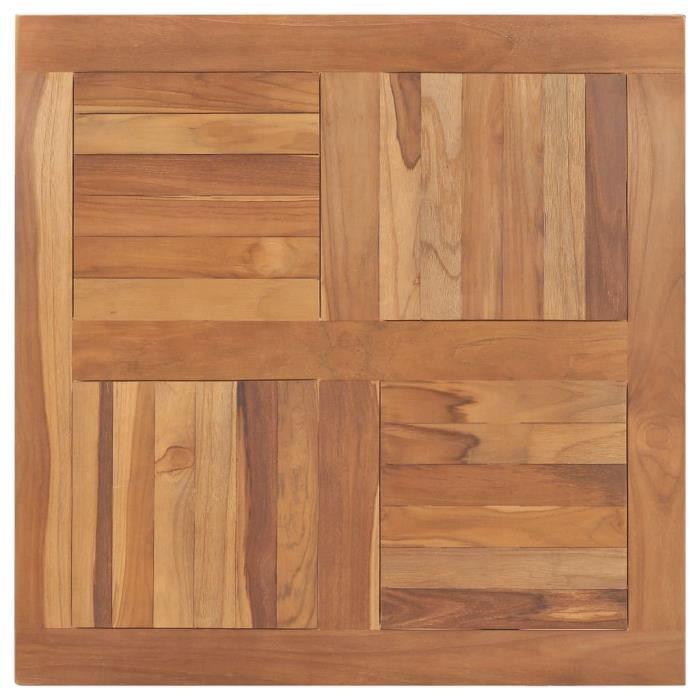 Dessus de table Bois de teck solide Carré 80x80x2,5 cm
