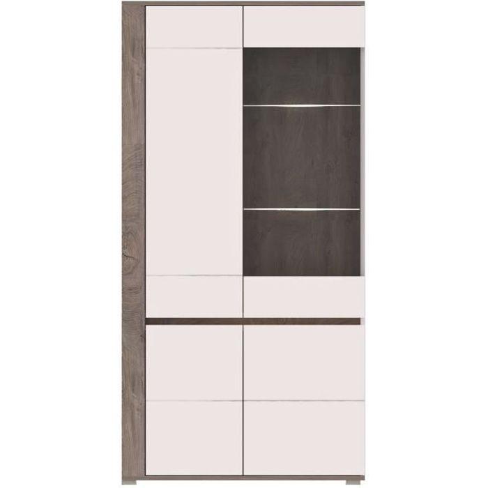 ARES - Meuble de rangement Vitrine + LED style moderne salon séjour - 196x100x40cm - Armoire porte vitrée - Aspect bois + Gloss -