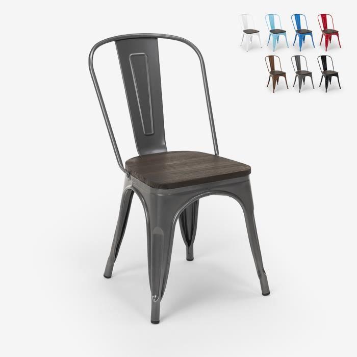 Chaises industrielles en bois et acier Tolix pour cuisine et bar STEEL WOOD - couleur:Gris foncé