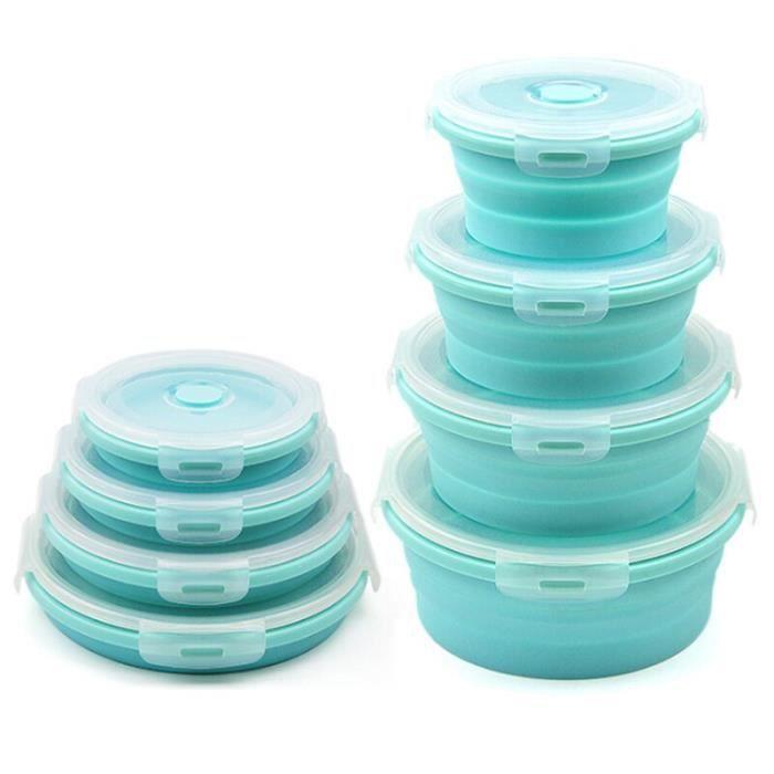 3-4 pièces ensemble pliable salade de fruits boîte à déjeuner Silicone alimentaire boîte conteneur rond forme vaisselle W10963