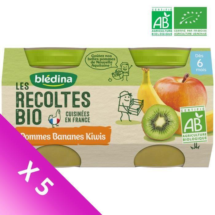 Blédina Les Récoltes Bio, Petits pots pour bébé bio - Dès 6 mois - Pommes Bananes Kiwis - Lot de 5 x 260 g