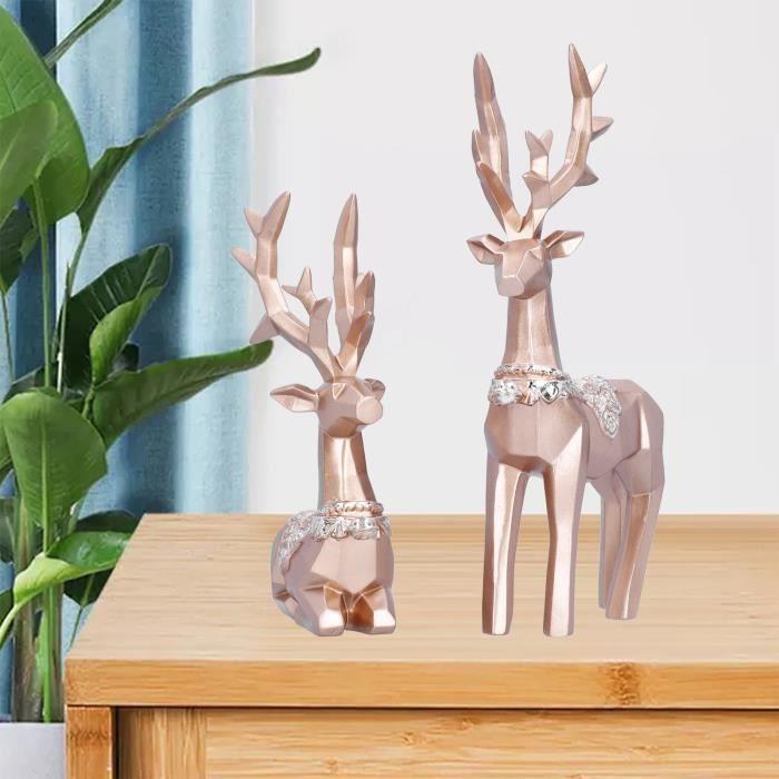 Renne Figurine Sculpture Famille Wapiti Style Nordique Statue Figurines à Collectionner Décor à La Maison(S Or) RAI