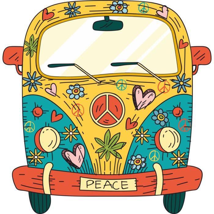 Poster Affiche Van Peace Dessin Hippie Psychedelique 70's Couleurs 61cm x 62cm