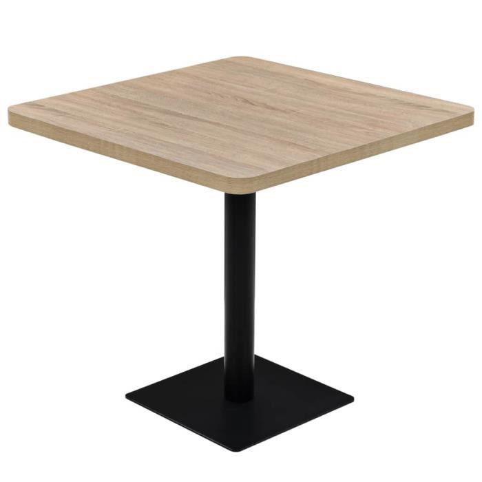 Table de bistro MDF et acier Carré 80x80x75 cm Couleur de chêne-XIC
