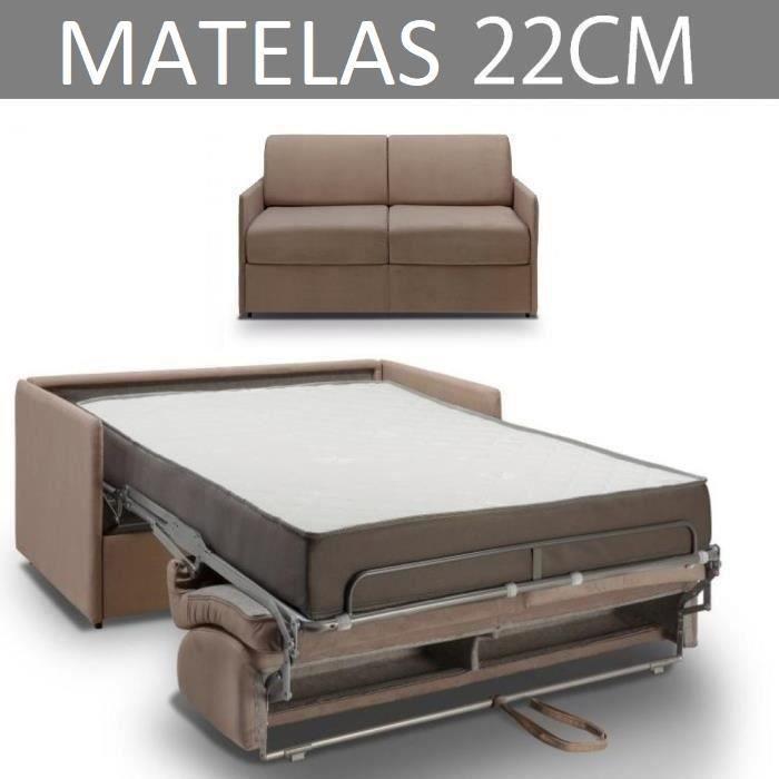 Canapé convertible EXPRESS 3 places en velours taupe - Couchage 140cm - Matelas épaisseur 22cm à mémoire de forme - COLOSSE