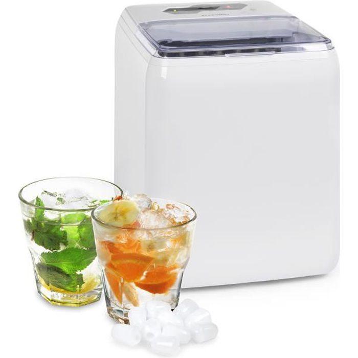 Klarstein Coolio Machine à glaçons 20 kg - 24 h - Glace transparente - Panneau de commande tactile - Réservoir 2,8L - Blanc