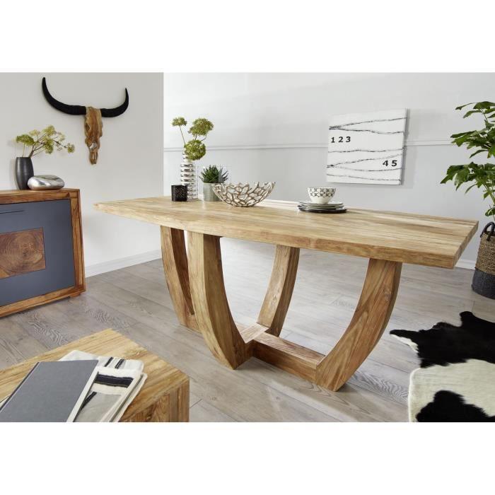 Table à manger 220x100cm - Bois recyclé de teck brut - Design rustique - BASSANO #118