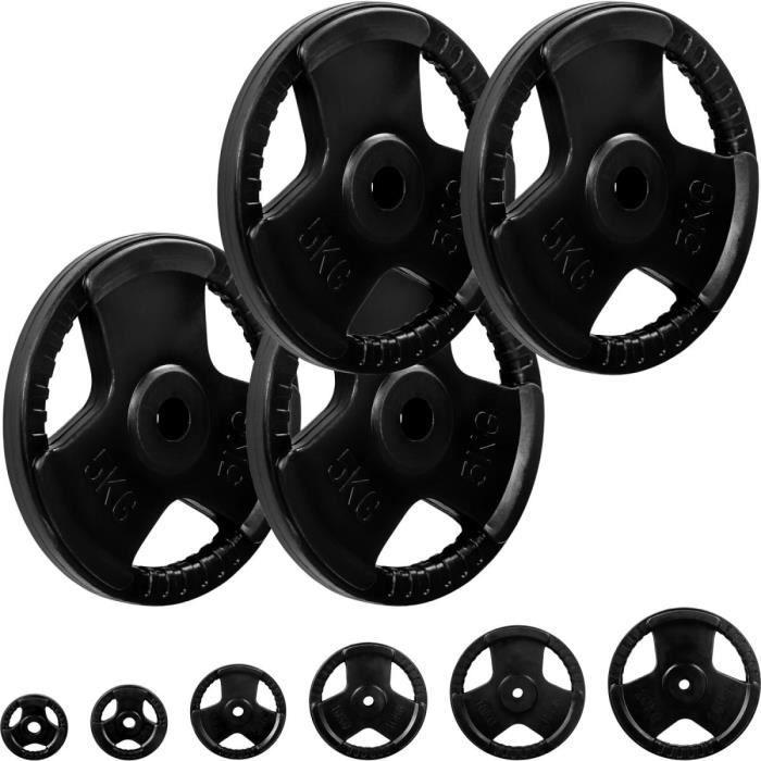 MOVIT® Poids grip en fonte revêtement caoutchouc, couleur noir 4x5 kg, diamètre d'alésage 31 mm