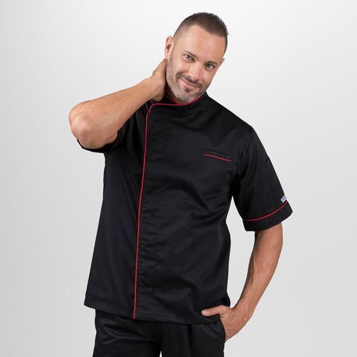 MANELLI Veste de Boucher Noir Pourtour Rouge - Moderne - Homme Manches courtes liseré Rouge
