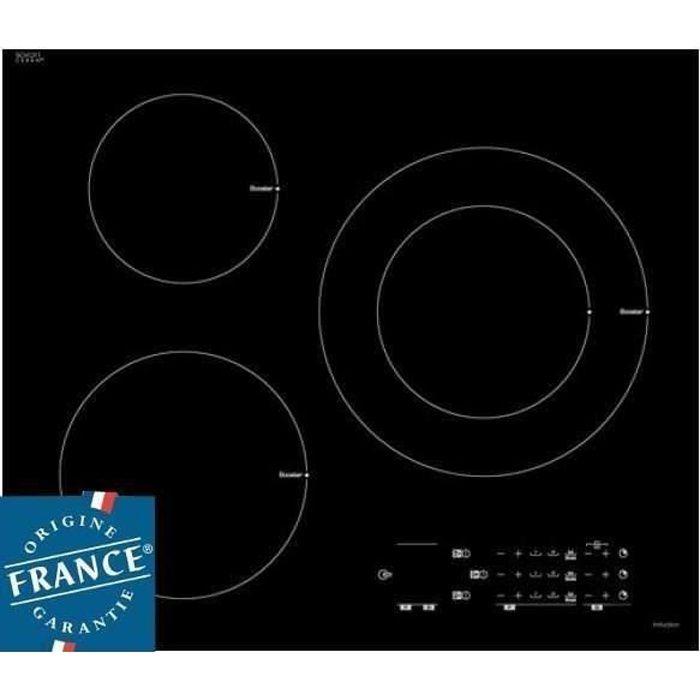 SAUTER SPI6300 Plaque de cuisson induction - 3 zones - 7200 W - L 60 x P 52 cm - Revêtement verre - Noir