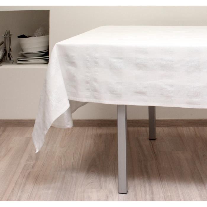 SOLEIL D'OCRE Nappe de table carrée Lyam 140x140 cm blanc
