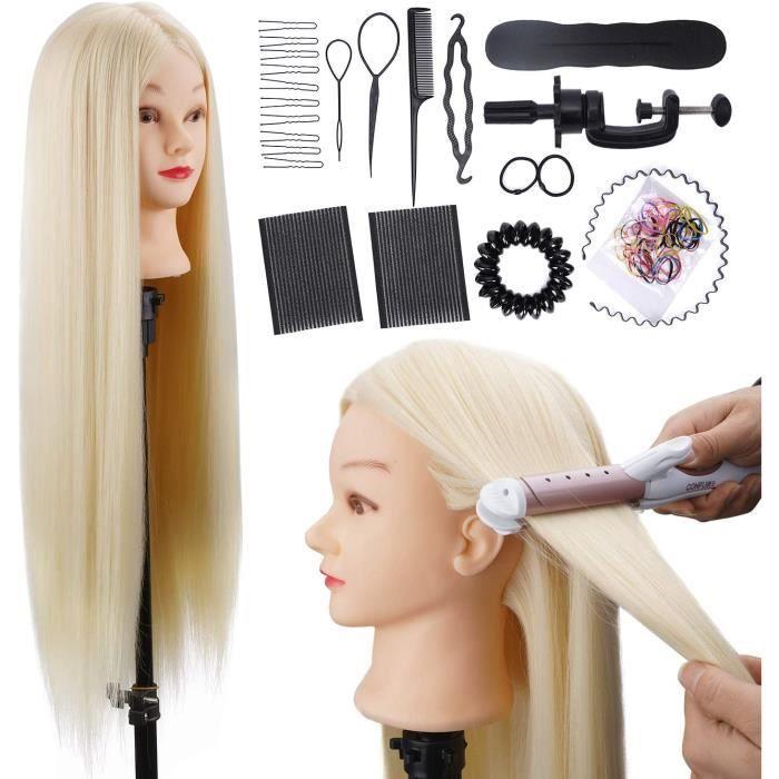 Tête À Coiffer ALUOHA 80cm Professionnelle Têtes d'exercice 100% de Cheveux Synthétiques Coiffure Cosmétologie Pratique Mannequin Po