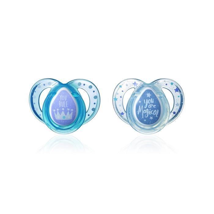 TOMMEE TIPPEE 2 Sucettes CTN Classique 6-18m (couleurs aléatoires - Rose/bleu/transparent)