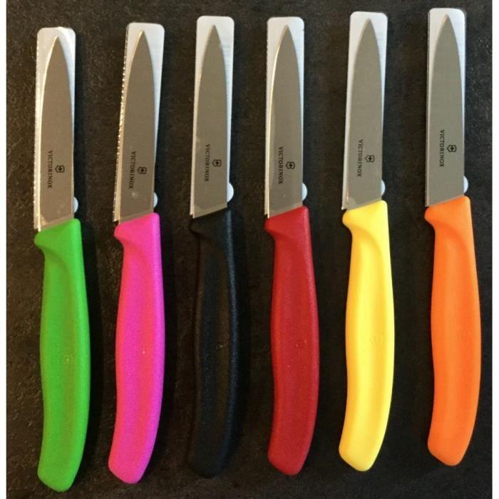 6 x Couteaux victorinox couleurs lame 8 cm couleur