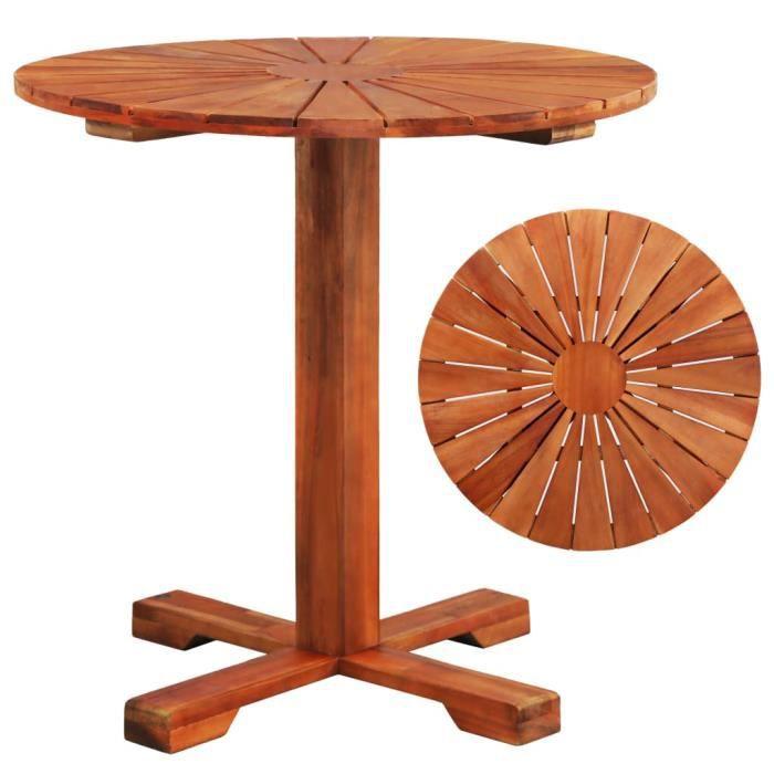 Table sur pied Bois d'acacia massif 70 x 70 cm Rond - Brun - Meubles de jardin - Tables d'extérieur - Brun - Brun