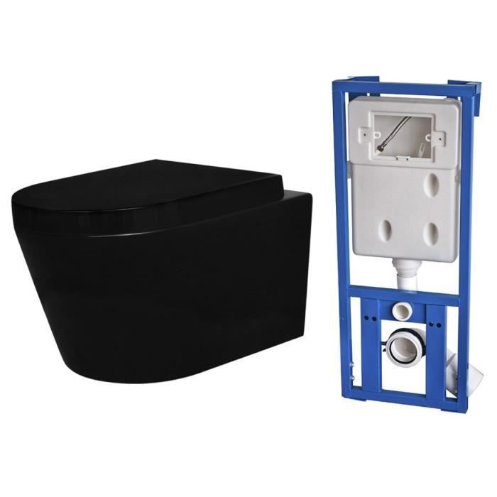 toilettes cuvette wc suspendue en ceramique noire avec. Black Bedroom Furniture Sets. Home Design Ideas