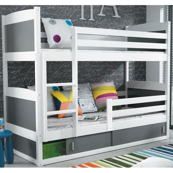 lit superpos rico 2 en pin blanc couchage 200x90 achat. Black Bedroom Furniture Sets. Home Design Ideas