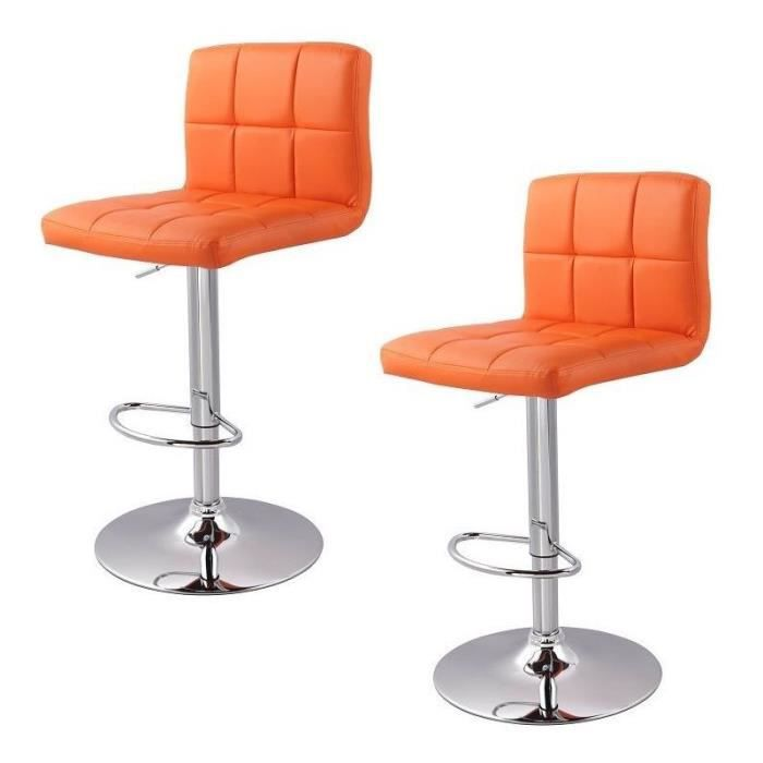 Lot de 2 tabourets de bar orange 1209071 achat vente - Tabouret de bar cdiscount ...