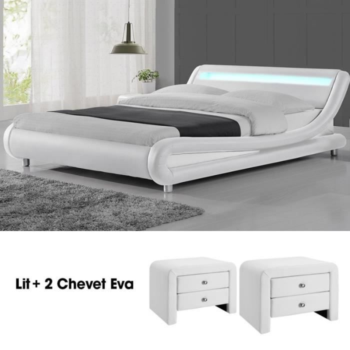 chevets de lit blanc design achat vente chevets de lit blanc design pas cher cdiscount. Black Bedroom Furniture Sets. Home Design Ideas