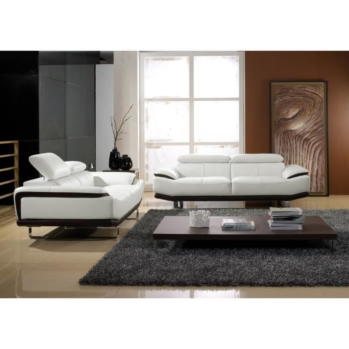 salon blanc cass et noir cuir haut de gamme osmoz achat vente canap sofa divan cuir. Black Bedroom Furniture Sets. Home Design Ideas
