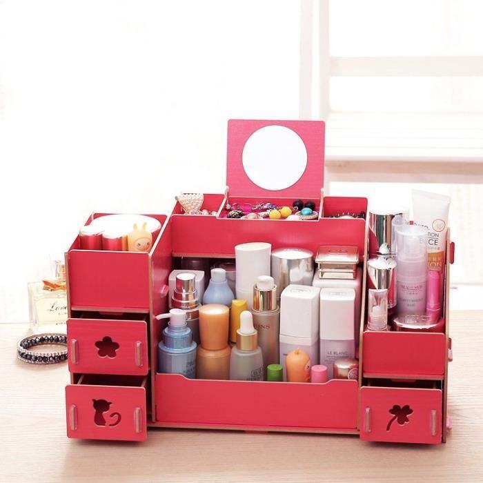 étagère Boîte Rangement Maquillage Diy En Bois Rouge