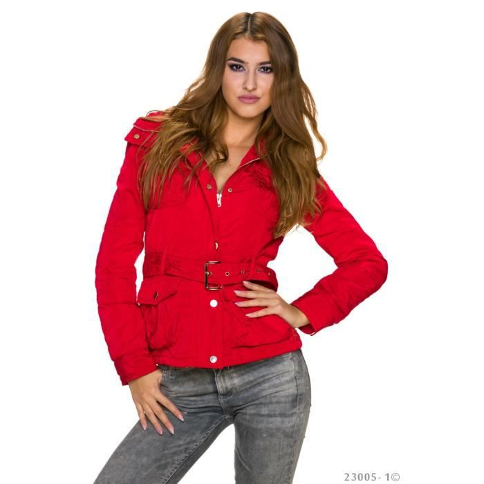 veste blouson doudoune courte rouge sexy femme achat vente doudoune 7897646545643 cdiscount. Black Bedroom Furniture Sets. Home Design Ideas
