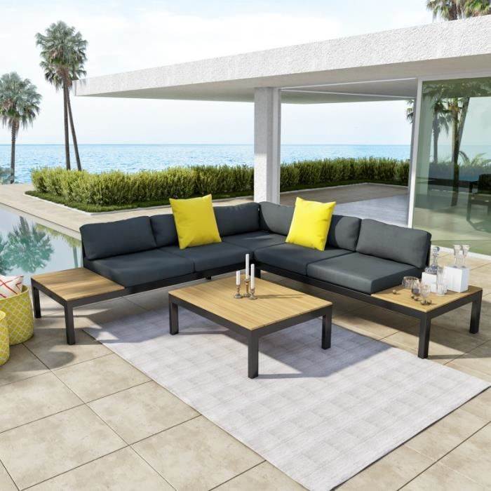 Salon d\'angle de jardin design aluminium couleur Gris Noir ...