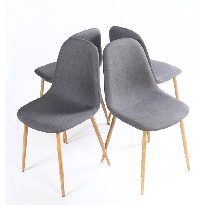 chaises gris achat vente chaises gris pas cher cdiscount. Black Bedroom Furniture Sets. Home Design Ideas