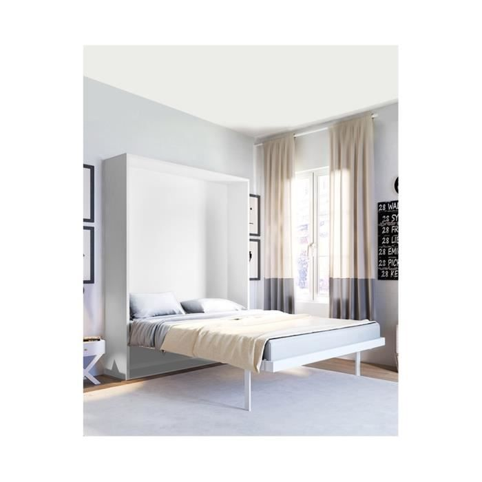 lit rabattable verticale smart 2 places sommier lattes ch ne blanc achat vente lit. Black Bedroom Furniture Sets. Home Design Ideas
