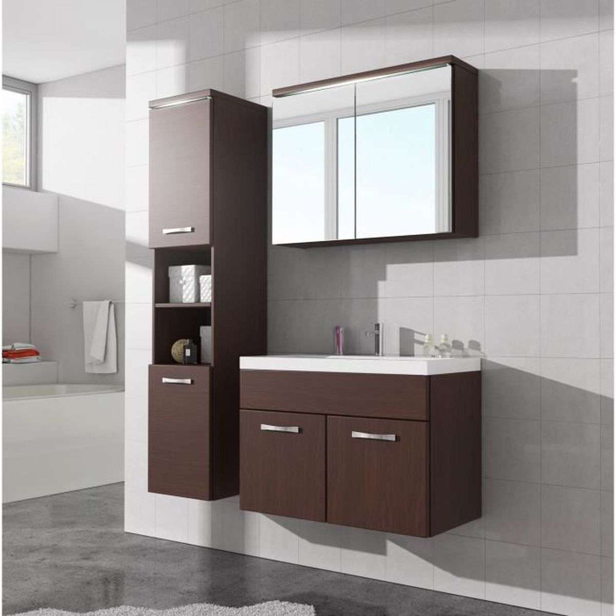 meuble de salle de bain paso armoire de rangement meuble lavabo vier meuble lavabo ch ne. Black Bedroom Furniture Sets. Home Design Ideas