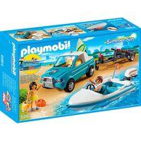 PLAYMOBIL 6864 - Summer Fun - Voiture avec Bateau et Moteur Submersible