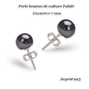 Boucle d'oreille AO Boucles d'oreille Perle Culture Tahiti Argent 9