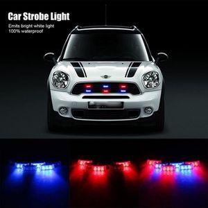 ALLUMAGE AUTO DES FEUX 6Pcs 3-LED Bleu et Rouge feux d'avertissement stro