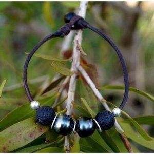 BRACELET - GOURMETTE Véritable perle de Tahiti cuir n bracelet homme à