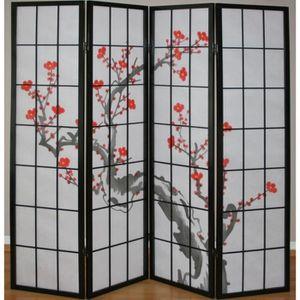 PARAVENT Paravent 4 panneaux japonais en bois noir 176x175c