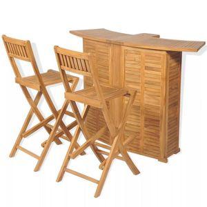 SALON DE JARDIN  Mobilier de bistro 3pcs et chaises pliables Bois d