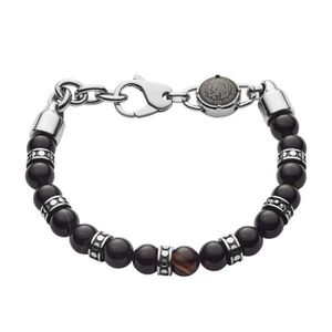 BRACELET - GOURMETTE Bracelet DIESEL en Acier Noir et Perle d'Agate Noi