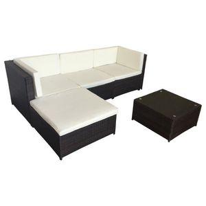 Ensemble table et chaise de jardin Salon de jardin FIGARI en résine tressée marron 4