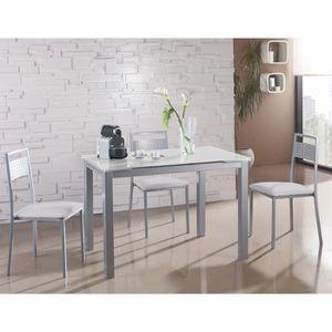 TABLE À MANGER SEULE Table à manger extensible en métal et verre colori