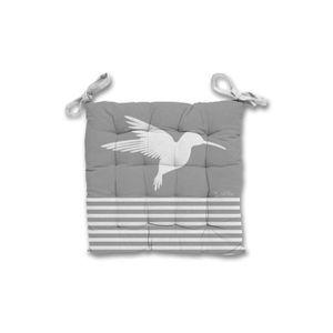 COUSSIN DE CHAISE  Galette de chaise 40x40x5 cm COLIBRI gris, par Sol