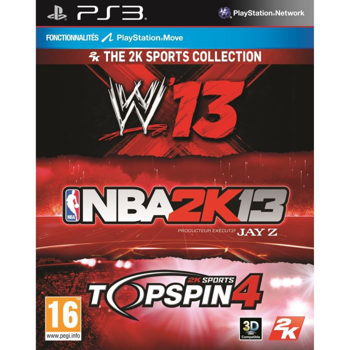 JEU PS3 TRIPLE PACK SPORT : NBA 2K13 + WWE 13 + TOP SPIN 4
