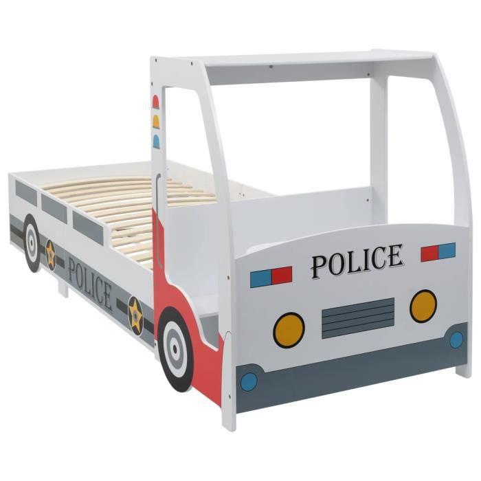 Lit voiture de police avec bureau pour enfants 90 x 200 cm