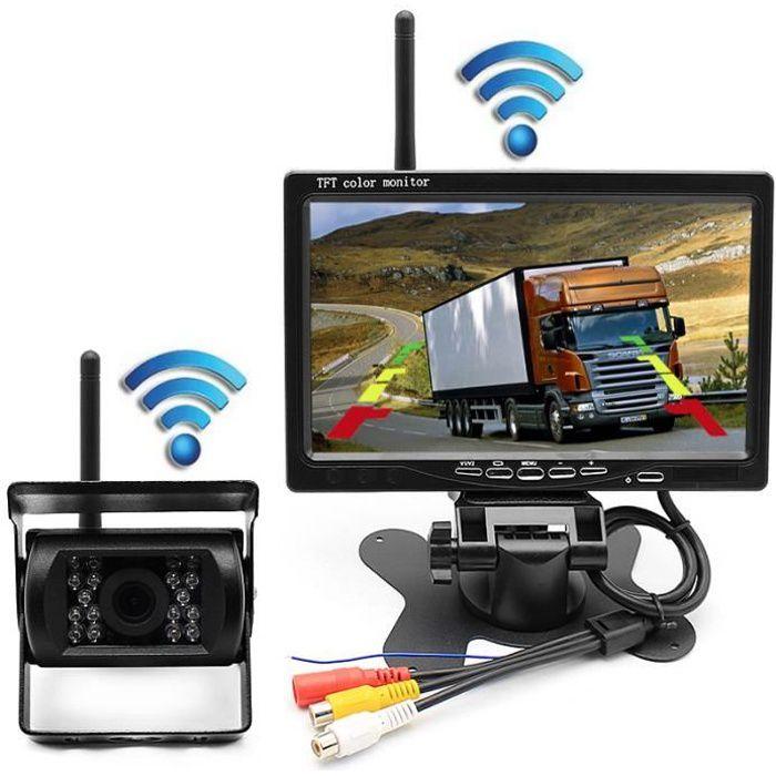 Nouvelle Caméra de Recul Sans Fil 7 Pouces HD LCD Ecran+Caméra de Voiture Etanche pour Camion RV Bus Remorque +Allume-cigare