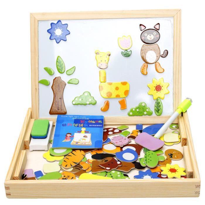 Thème Animaux de Forêt - Tableau d'Enfant Magnétique Puzzles en Bois Coloré Jouet Éducatif Cadeau Pour Enfant Bébé Mixte
