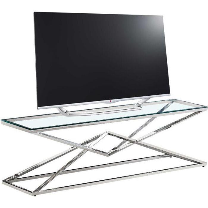 Meuble tv design en acier inoxydable poli argenté et verre trempé L. 150 x P. 40 x H. 45 cm collection PARMA Argenté, Transparent